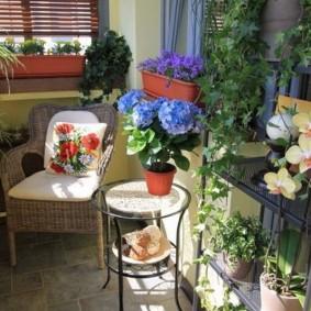 Плетенное кресло в зимнем саду на балконе