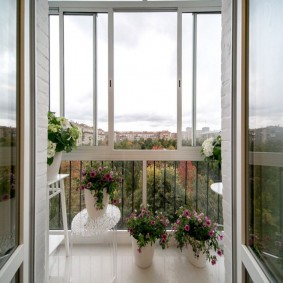 Открытые двери на балконе с цветами