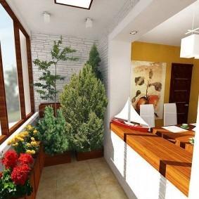 Цветущие растения на присоединенном балконе