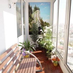 Садовая лавочка на благоустроенном балконе