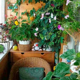 Зона отдыха на балконе в природном стиле