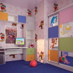 Синий ковролин в детской спальне