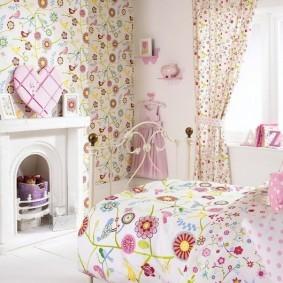 Камин в интерьере детской спальни