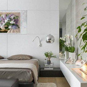 зеленые растения в современной спальне