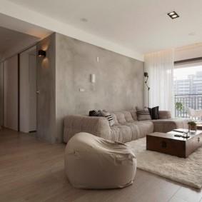 Серые стены в двухкомнатной квартире