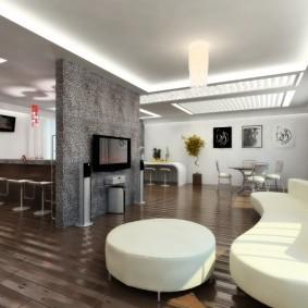 Белый диван в гостиной стиля хай-тек