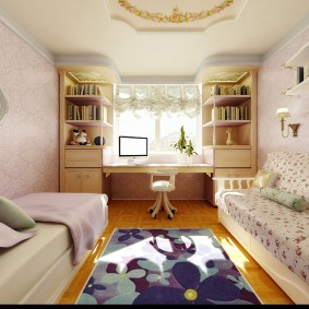 Дизайн детской комнаты узкой формы