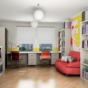 Красный диванчик в комнате подростка