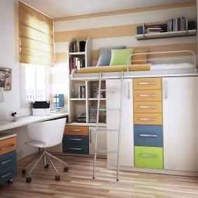 Двухъярусная мебель в комнате дошкольника