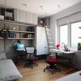 Детская мебель с антресолью под потолком комнаты