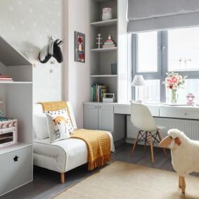 Интерьер детской комнаты с модульной мебелью