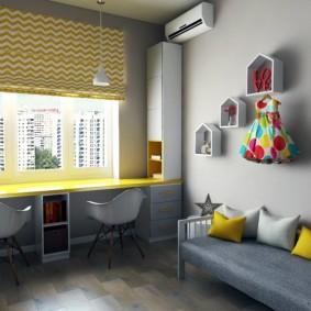Желтая столешница стола-подоконника