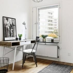 Консольный столик в кабинете скандинавского стиля