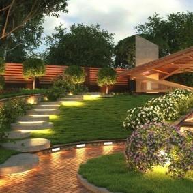 Светодиодные фонарике в саду современного стиля