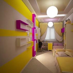 Яркий интерьер комнаты для ребенка школьного возраста