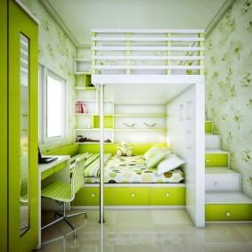 Зеленая мебель для детской комнаты