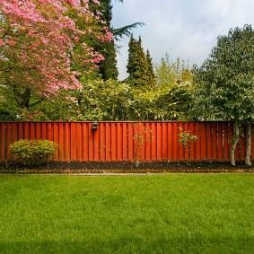 Деревянная ограда на дальнем плане дачного участка