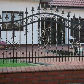 Элитный забор с кованными элементами