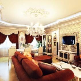 Дизайн гостиной-столовой в стиле классика