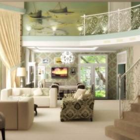 Дизайн гостиной в доме с лестницей