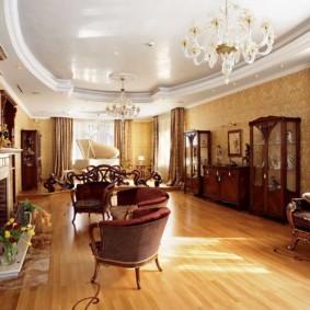 Меблировка гостиной комнаты в стиле классики