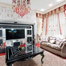 Красный пол в гостиной квартиры