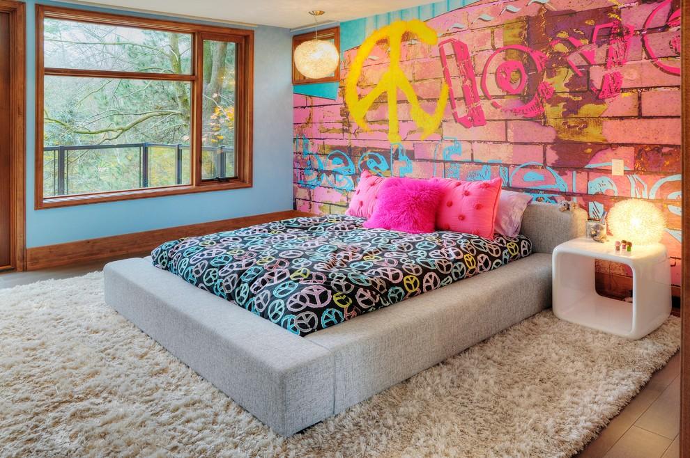 Фотообои с граффити на стене детской в частном доме