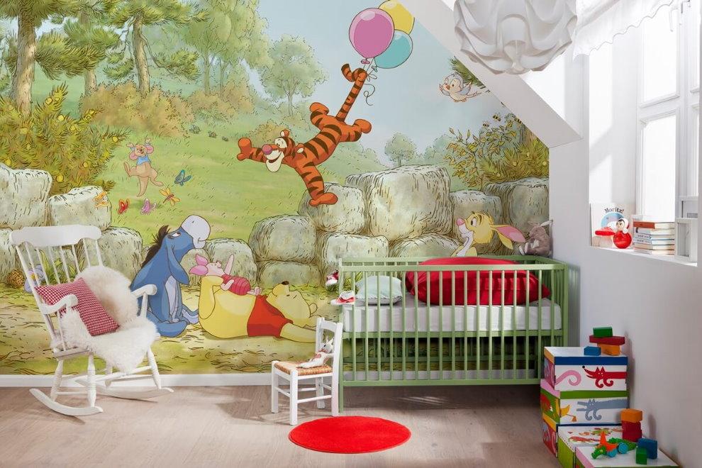 Детская комната с 3d фотообоями на акцентной стене