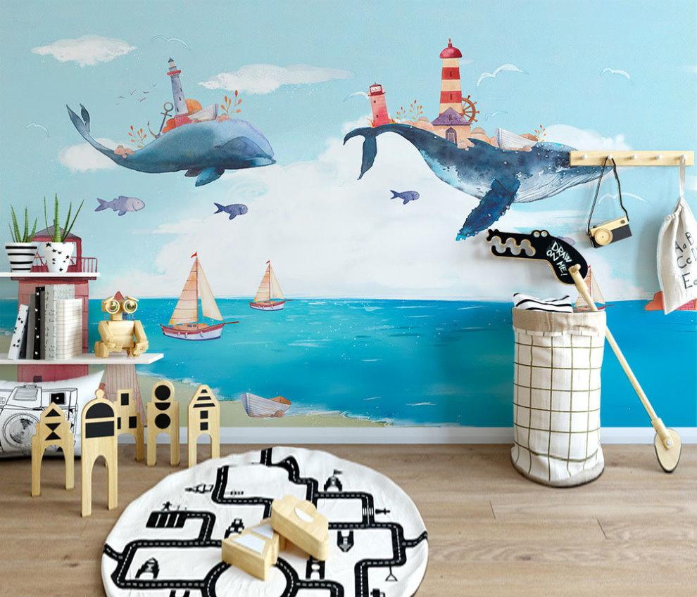 Фотообои со сказочными дельфинами для детской