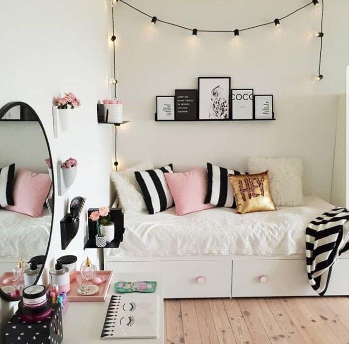 Декор гирляндой детской комнаты для подростка