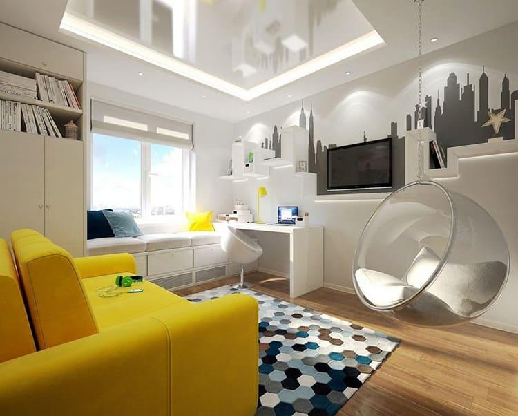 Подвесное кресло в комнате стиля хай тек
