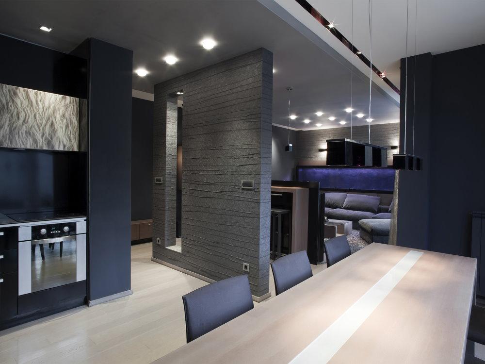 Квартира студия в стиле хай-тека