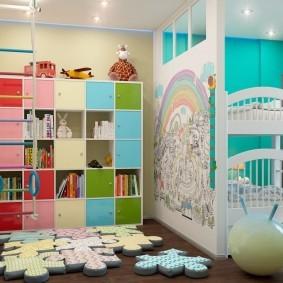 интерьер детской с зонированием пространства