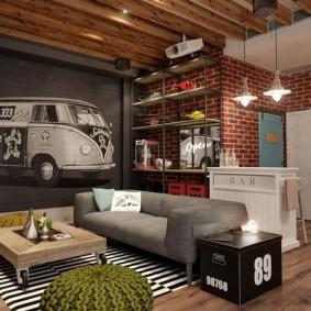 интерьер дизайн маленького зала