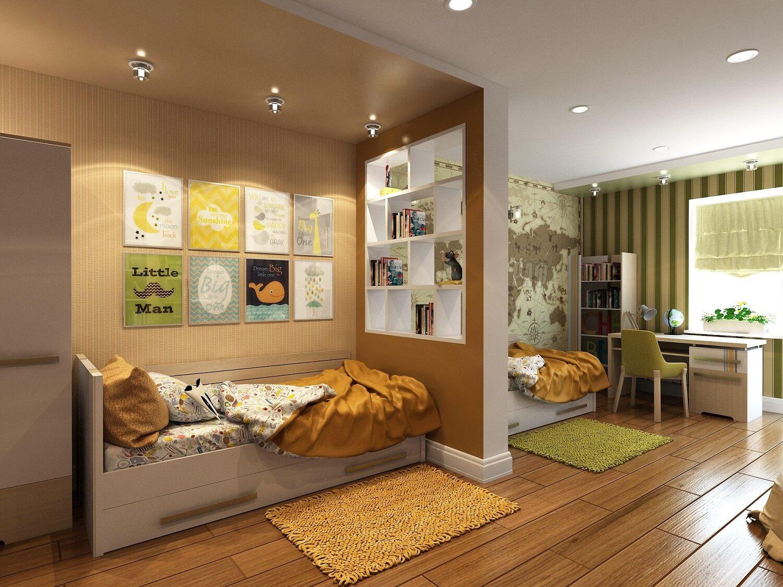 как разделить детскую комнату на две зоны