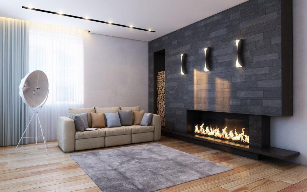 Серый камень в зале стиля минимализма