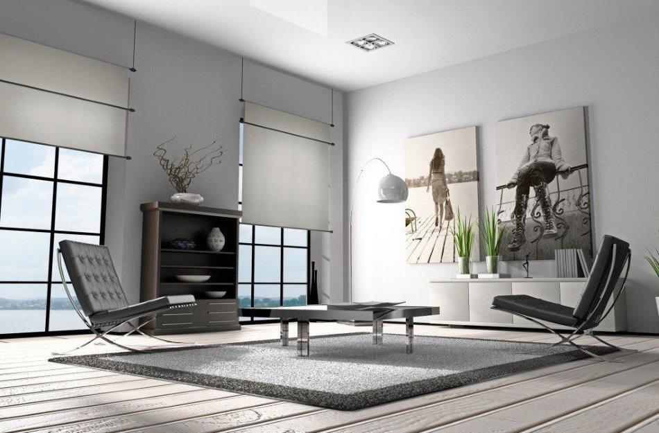 Современные картины в интерьере гостиной стиля хай тек