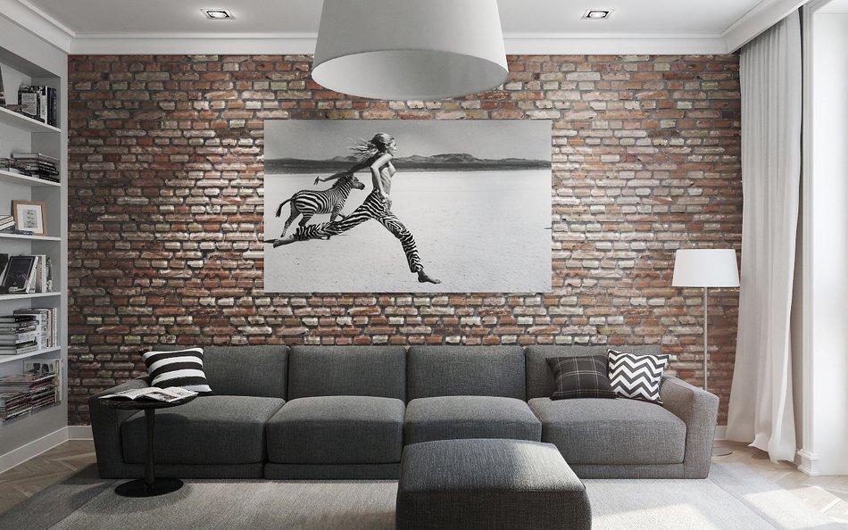 Картина в интерьере зала лофт стиля