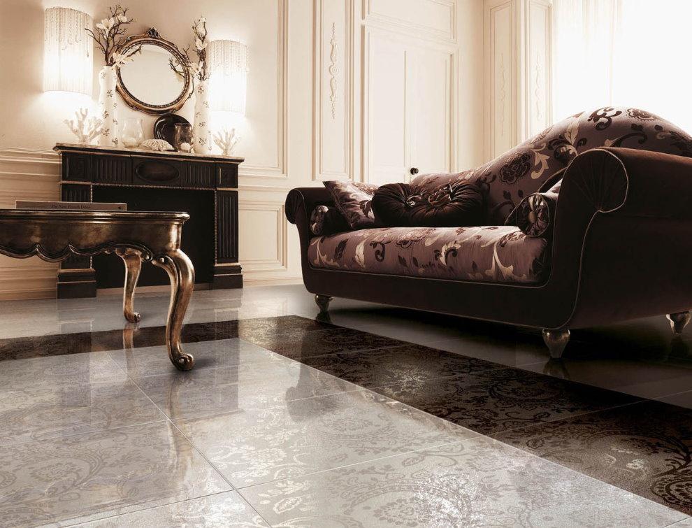 Керамическое покрытие пола в гостиной классического стиля