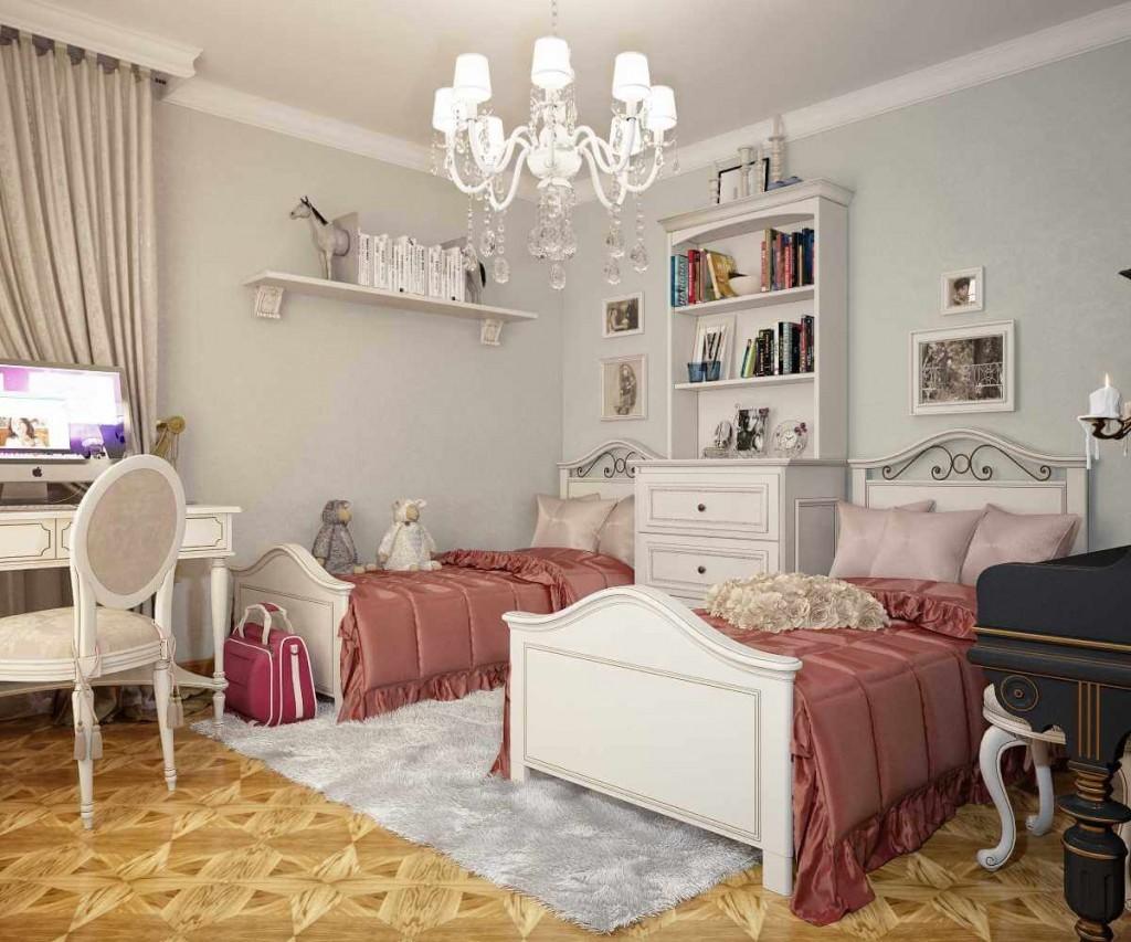 Розовые одеяла на кроватях в детской спальне