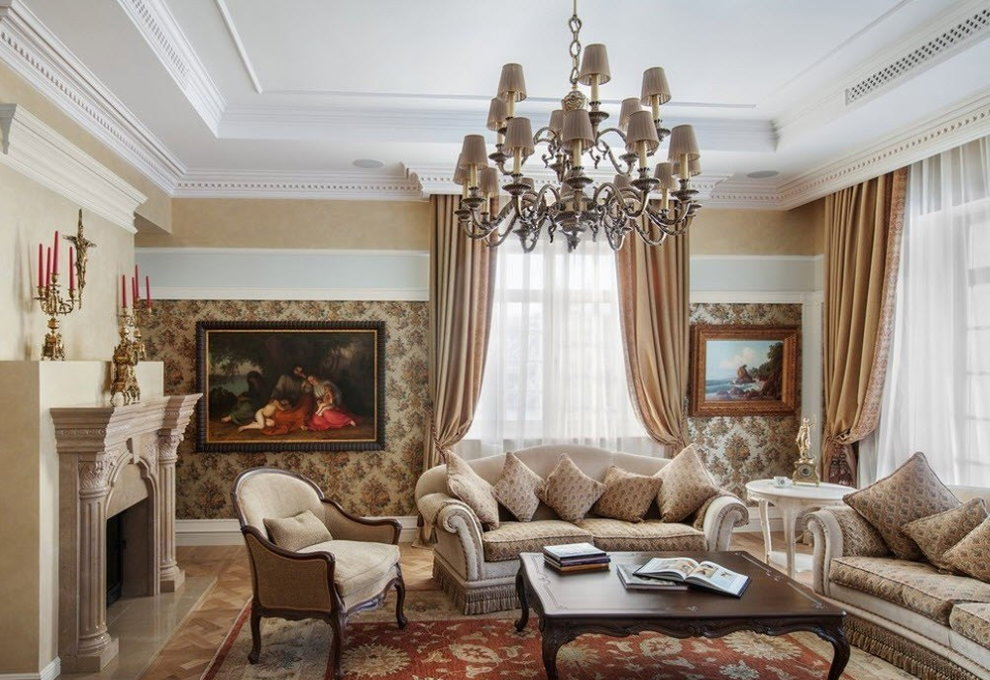 Угловая гостиная в классическом стиле