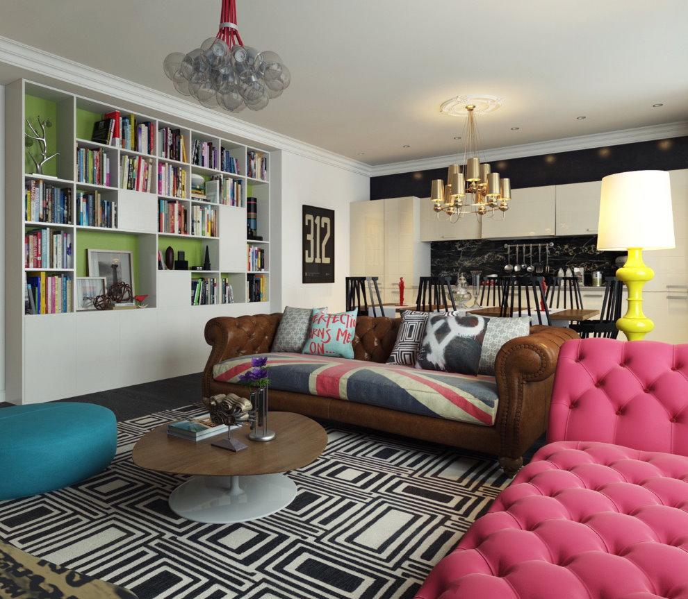 Расположение мягкой мебели в гостиной современного стиля