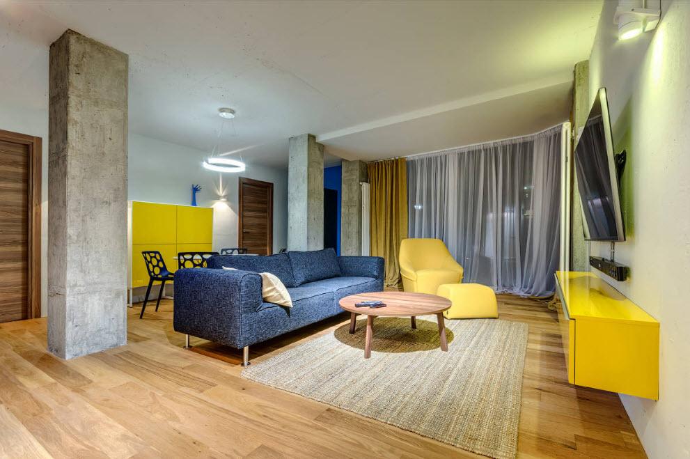 Зонирование мебелью зала в квартире