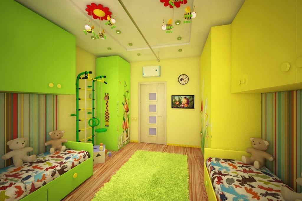 Дизайн детской комнаты с комбинированным потолком