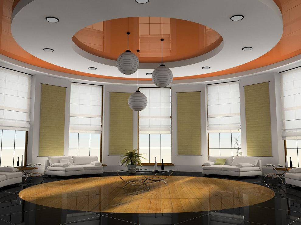 Круглая гипсокартонная конструкция на потолке в зале
