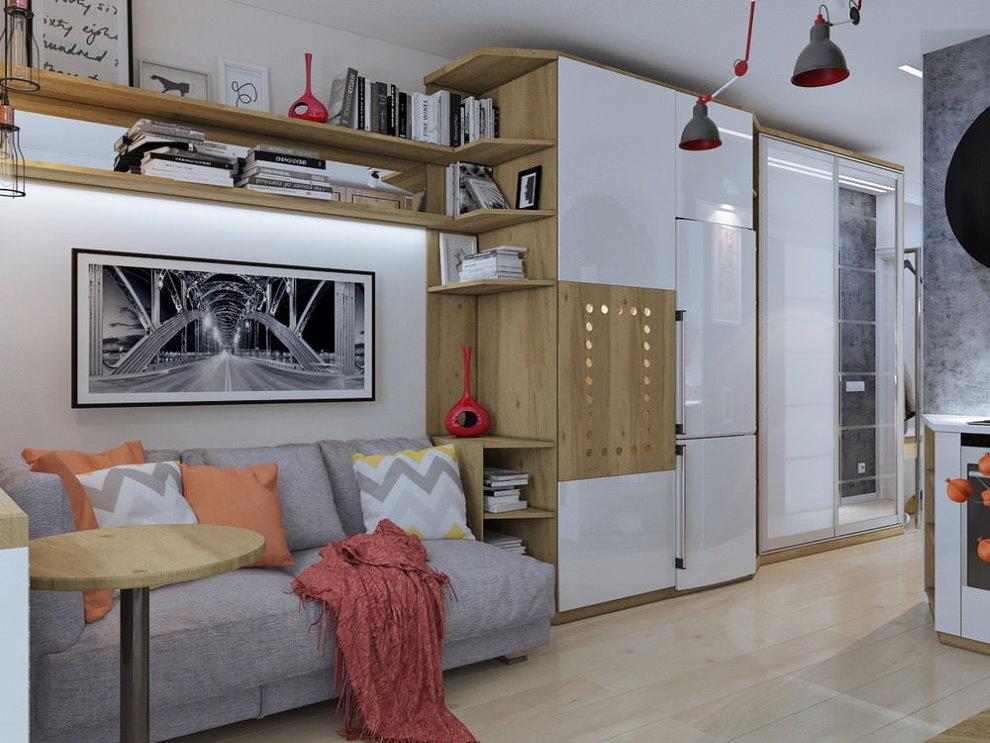 Узкий диванчик вдоль стены в однокомнатной квартире