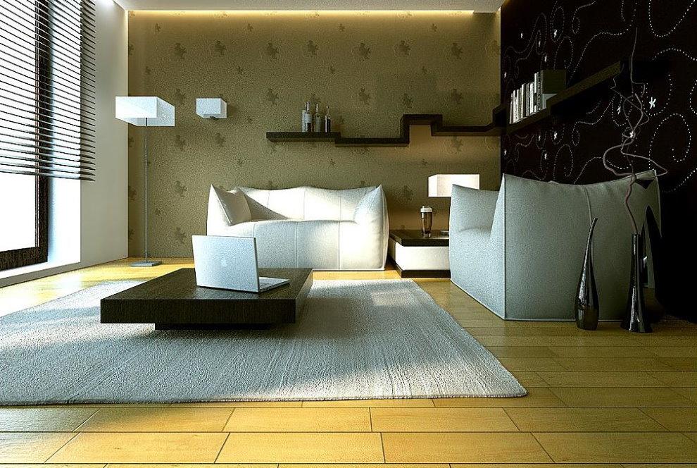 Светлый палас на полу в минималистической гостиной