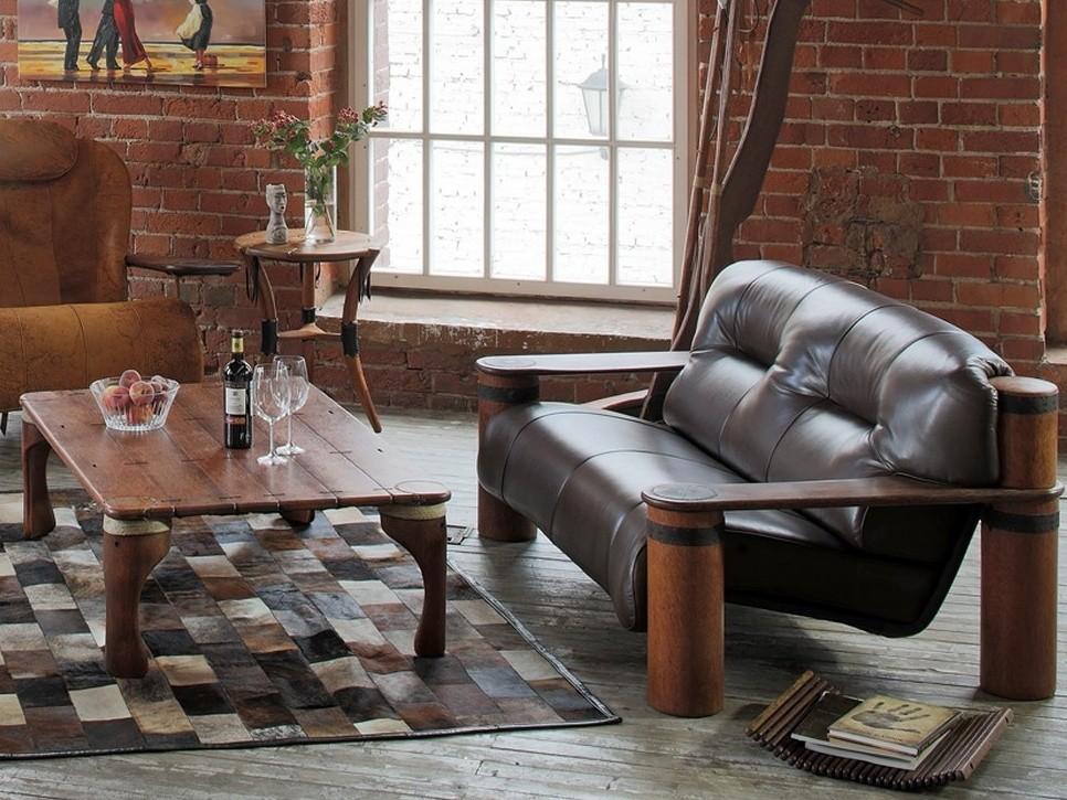 Кожаный диванчик в стиле лофта