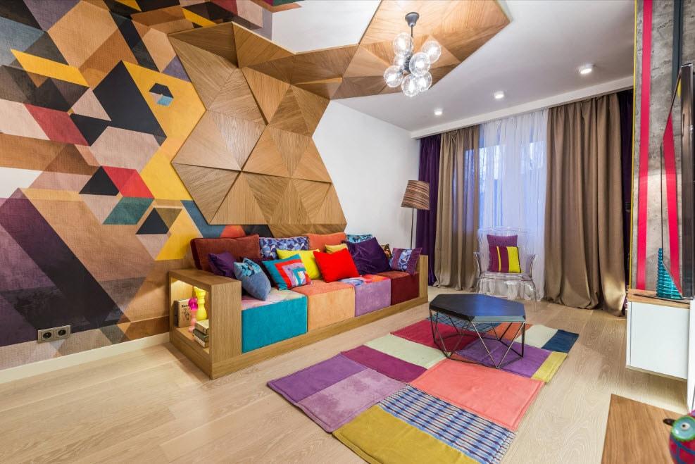 Отделка стен и потолка зала деревянными панелями