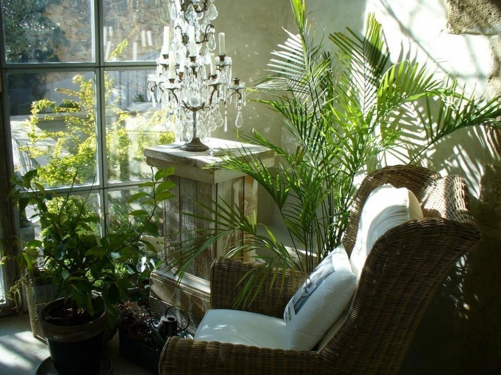 Кресло на балконе с живыми растениями